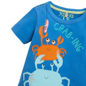 Joules Boys Archie T-Shirt Blue Crabing A Bite