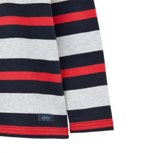 Joules Boys Dale Sweatshirt Grey Red Stripe