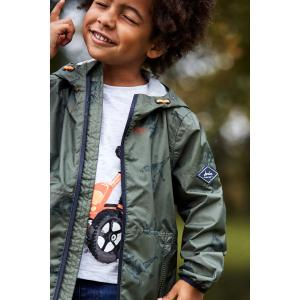 Joules Childs Arlow Print Coat Green Dino