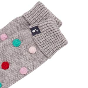 Joules Childs Caldwell Luxe Pom Pom Mittens Grey Marl