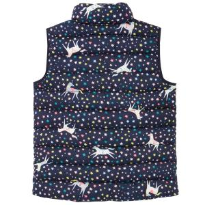 Joules Childs Flip It Reversible Gilet Navy Unicorn