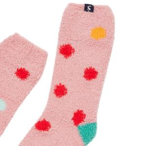 Joules Childs Fluffy Socks Pink Spot