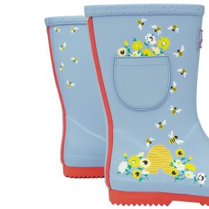 Joules Childs Roll Up Wellies Blue Bees