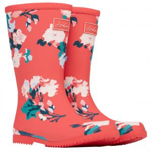 Joules Childs Roll Up Wellies Red Floral