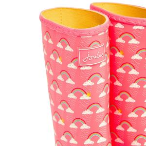 Joules Childs Roll Up Welly Pink Rain Clouds