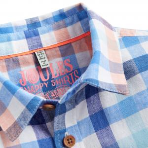 Joules Childs Sark Checked Short Sleeved Shirt Blue Orange Check