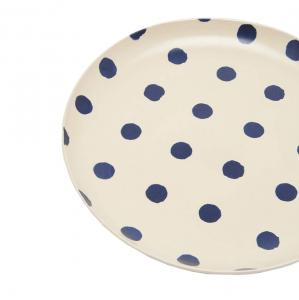 Joules Galley Grade Stoneware Dinner Plate French Navy Spot