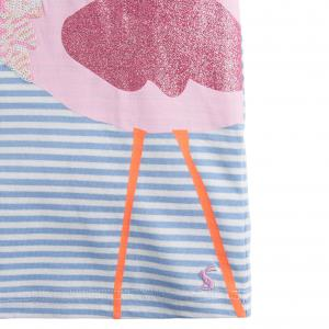 Joules Girls Astra Jersey Top Blue Stripe Flamingo