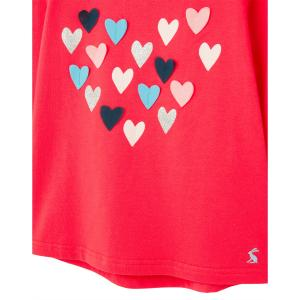 Joules Girls Ava Long Sleeve T-Shirt Red Hearts