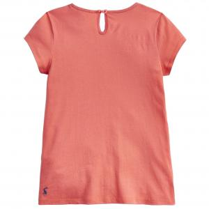 Joules Girls Brodie Detailed Top Bright Coral