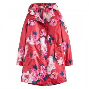 Joules Girls Golightly Waterproof Packaway Parka Deep Pink Floral