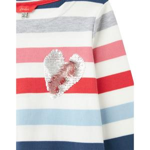 Joules Girls Harbour Luxe Jersey Top White Multi Heart