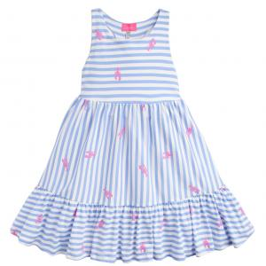 Joules Girls Juno Midi Dress Blue Lobster Stripe