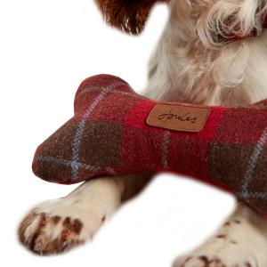 Joules Plush Dog Bone Dog Toy Red Tweed