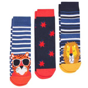 Joules Junior Brilliant Bamboo Socks 3 Pack Tiger Blue
