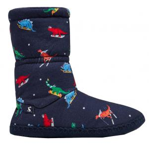 Joules Junior Padabout Slippers Navy Dinosaur