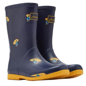 Joules Junior Roll Up Wellies Navy Ducks