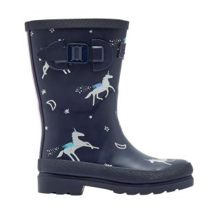 Joules Junior Welly Print Wellies Navy Unicorns