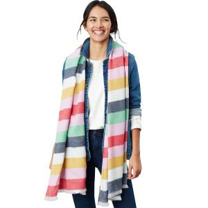 Joules Ladies Berkley Scarf White Multi Stripe