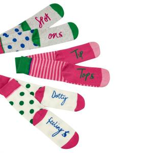 Joules Ladies Brilliant Bamboo Socks 3 Pack Pink Spots