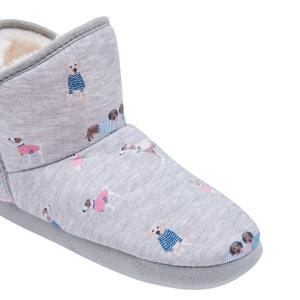 Joules Ladies Slippet Mule Slippers Grey All Over Dog