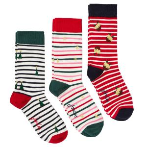 Joules Ladies Cracking Socks 3 Pack Red Multi Stripe