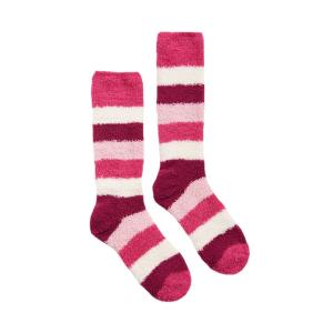 Joules Ladies Fab Fluffy Socks Pink Block Stripe