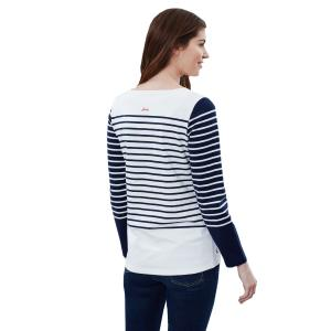 Joules Ladies Harbour Embroidered Long Sleeve Top Hello Stripe French Navy