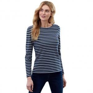 Joules Ladies Harbour Long Sleeve Top Navy Stripe French Navy