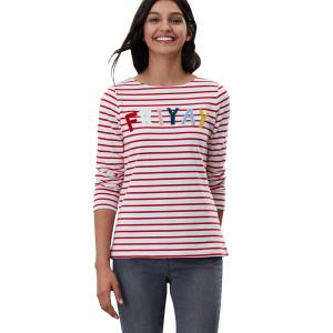 Joules Ladies Harbour Luxe Long Sleeve Top Cream Red Stripe