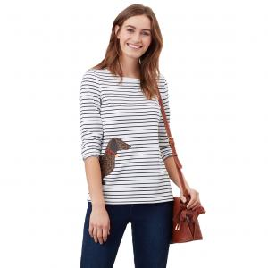 Joules Ladies Harbour Print Top Cream Dog Leopard Stripe