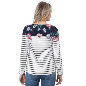 Joules Ladies Harbour Print Top Floral Border Stripe