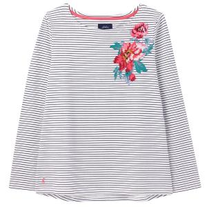 Joules Ladies Harbour Print Top French Navy Floral Placement Stripe
