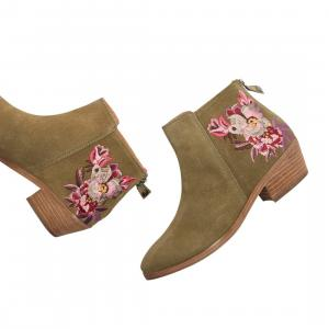 Joules Ladies Langham Embroidered Ankle Boots Khaki Bircham Bloom