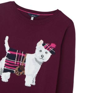 Joules Ladies Miranda Intarsia Knit Jumper Purple Dog