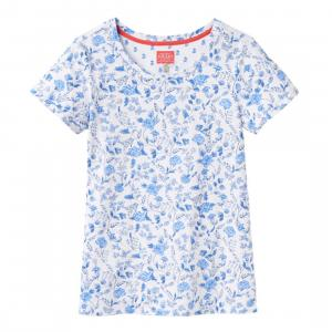 Joules Ladies Nessa Print Jersey T-Shirt White Sea Air Ditsy
