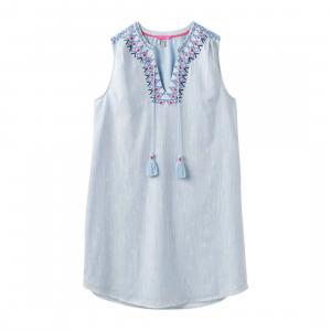 Joules Ladies Orianne Sleeveless Embroidered Tunic Dress Cool Blue