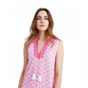 Joules Ladies Orianne Sleeveless Embroidered Tunic Dress Pink Daisy Foulard