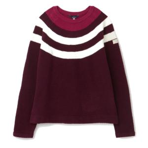 Joules Ladies Seaport Knitted Chenille Raglan Jumper Plum Multi Stripe