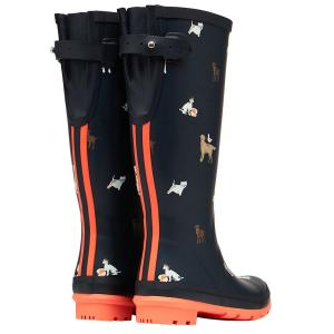 Joules Ladies Welly Print Navy Beach Dogs