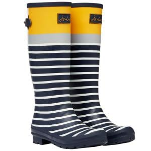 Joules Ladies Welly Print Wellies Navy Engineered Stripe
