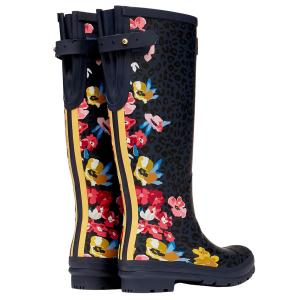 Joules Ladies Welly Print Wellies Navy Floral Leopard