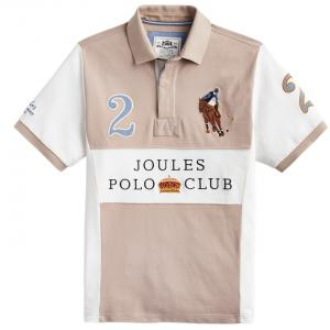Joules Mens Clifton Embellished Classic Polo Shirt Taupe