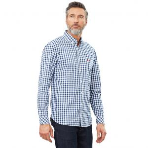 Joules Mens Hewney Classic Shirt Blue Herringbone Check