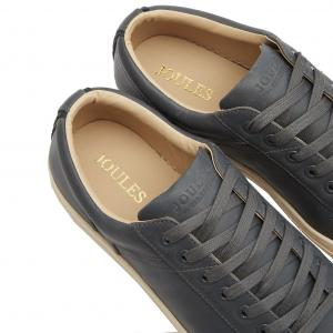 Joules Mens Parker Leather Trainers Light Grey