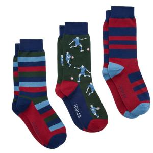 Joules Mens Striking Socks 3 Pack Rugby Multi