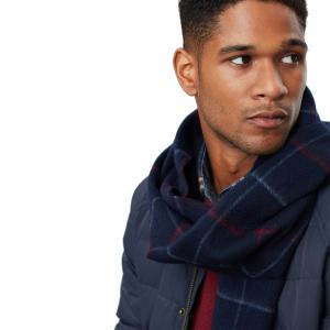 Joules Mens Tytherton Scarf Dark Blue Check