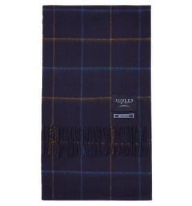 Joules Mens Tytherton Scarf Navy Yellow Check