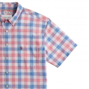 Joules Mens Wilson Short Sleeved Checked Shirt Pink Check