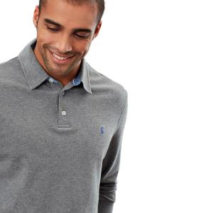 Joules Mens Woodwell Long Sleeve Polo Grey Marl